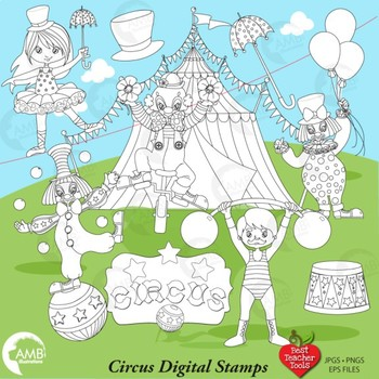 Carnival clipart line. Circus digital stamps black