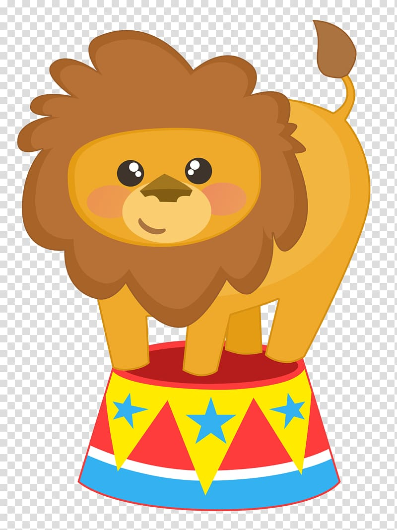 Clown lion carnival theme. Circus clipart platform