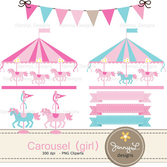 Carousel digital paper pink. Carnival clipart merry go round