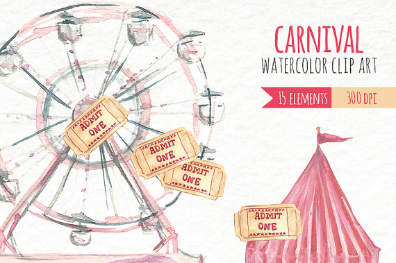 Carnival clipart merry go round. Watercolor clip art fair