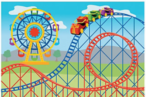 Props circus party backdrops. Carnival clipart roller coaster