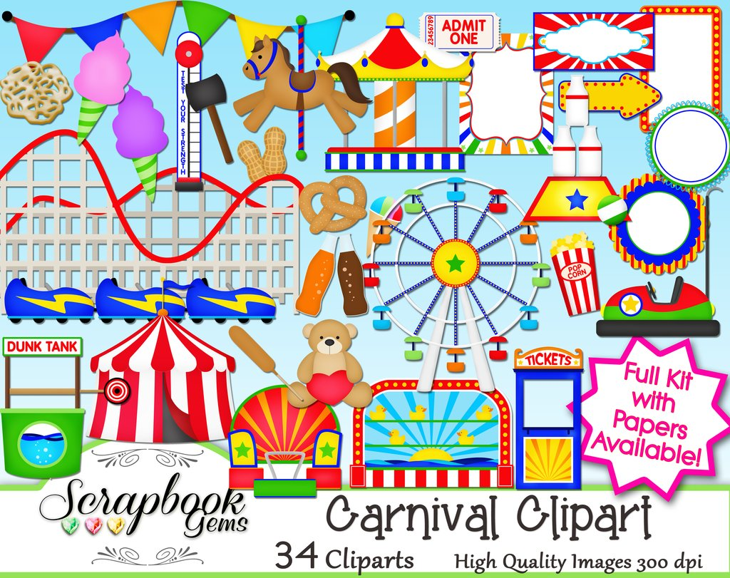 Papers scrapbook gems. Carnival clipart roller coaster
