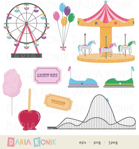 Funfair clip art set. Carnival clipart roller coaster