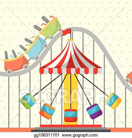 Vector stock chair carousel. Fair clipart fun roller coaster