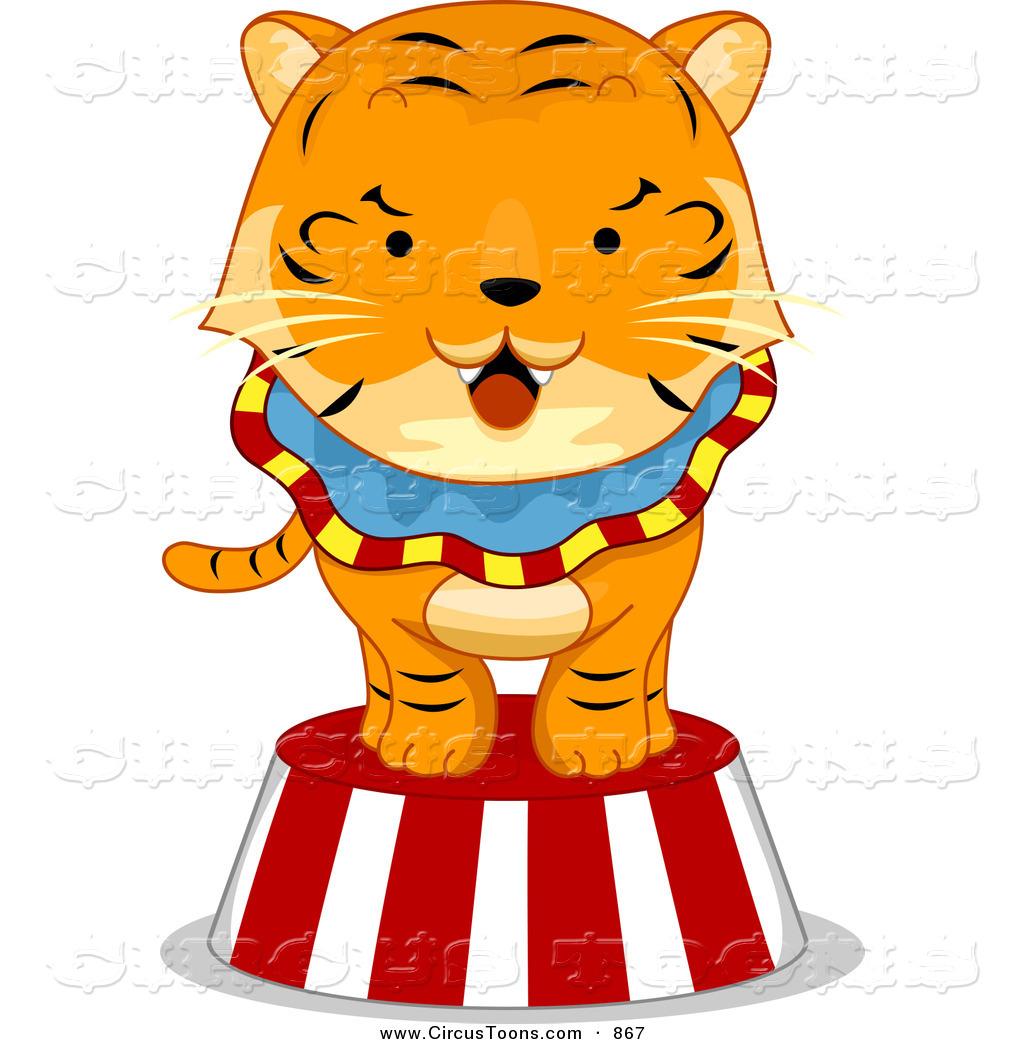 Carnival tiger pencil and. Circus clipart platform