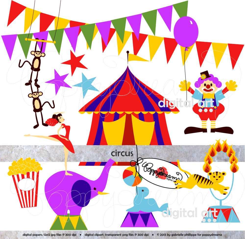 Carnival clipart transparent. Circus clip art pack