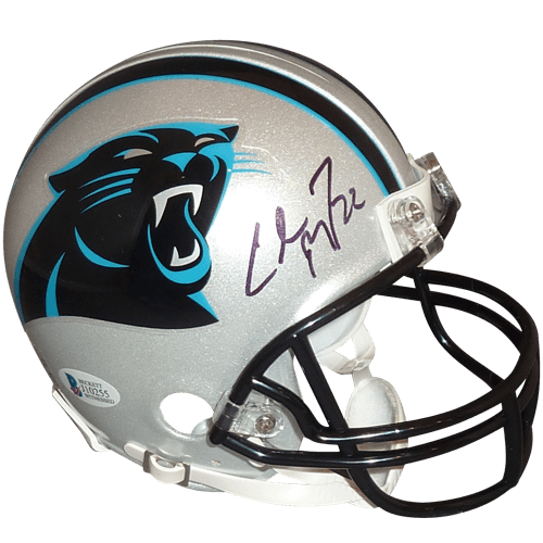 Christian mccaffrey autographed mini. Carolina panthers helmet png