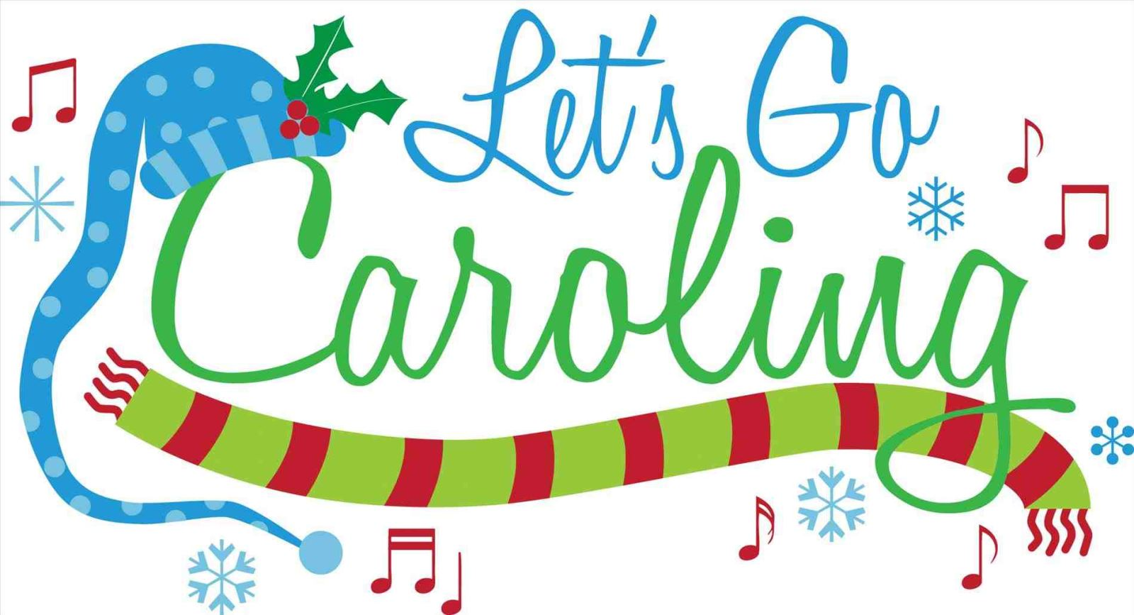 Strolling christmas carolers palm. Caroling clipart