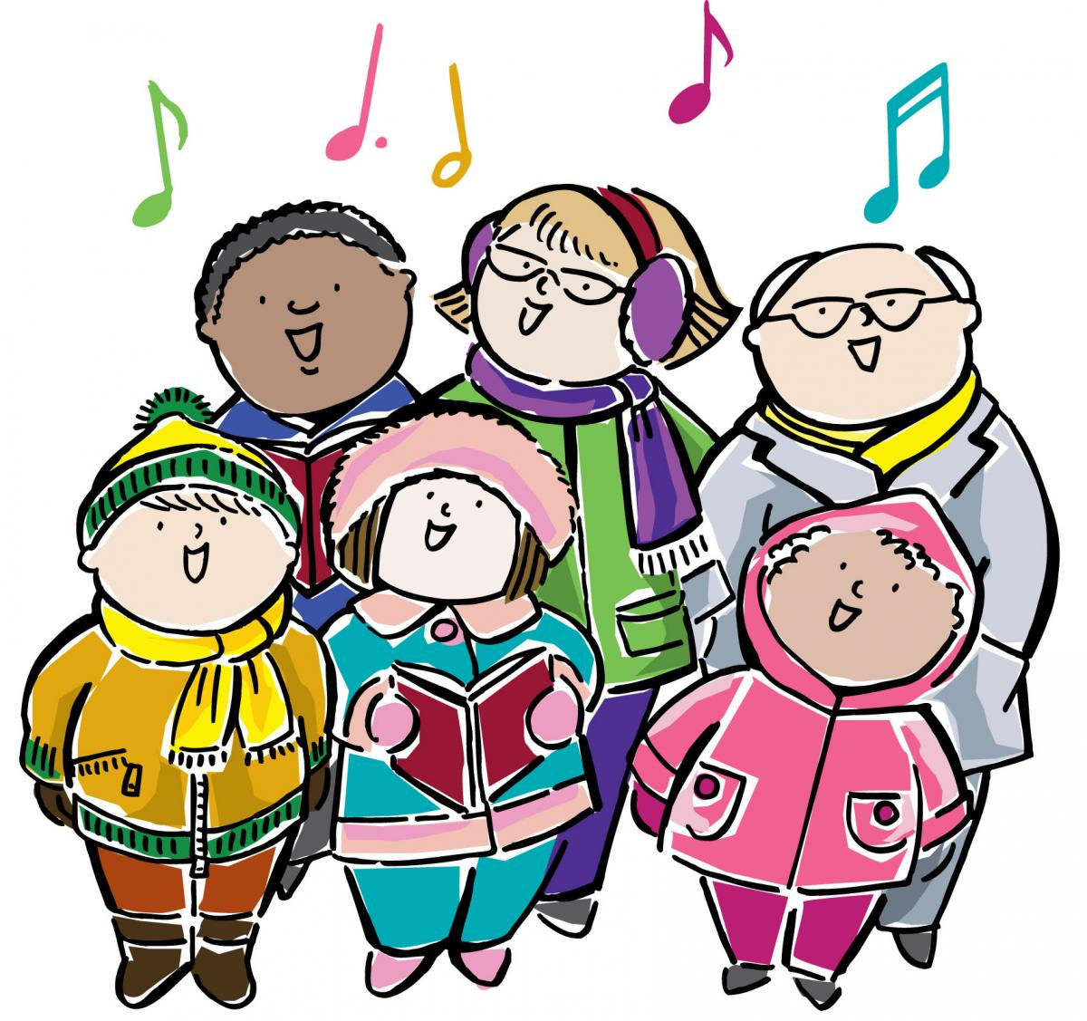 Christmas unity of the. Caroling clipart