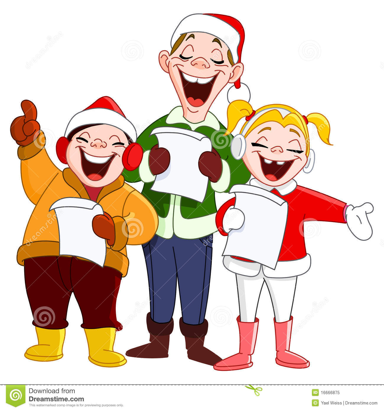 Carolling clip art for. Caroling clipart activity
