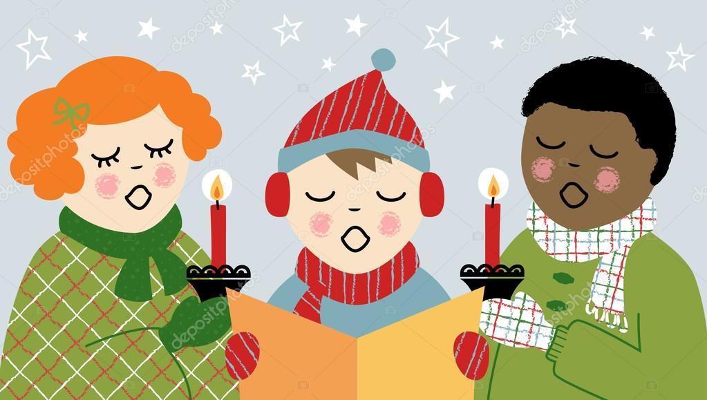 Caroling clipart activity. Children christmas stock vector