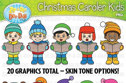 Christmas carolers kids set. Caroling clipart activity