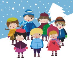 Caroling clipart activity. Christmas carols theme