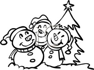 Caroling clipart african american. Cartoon of happy snowmen