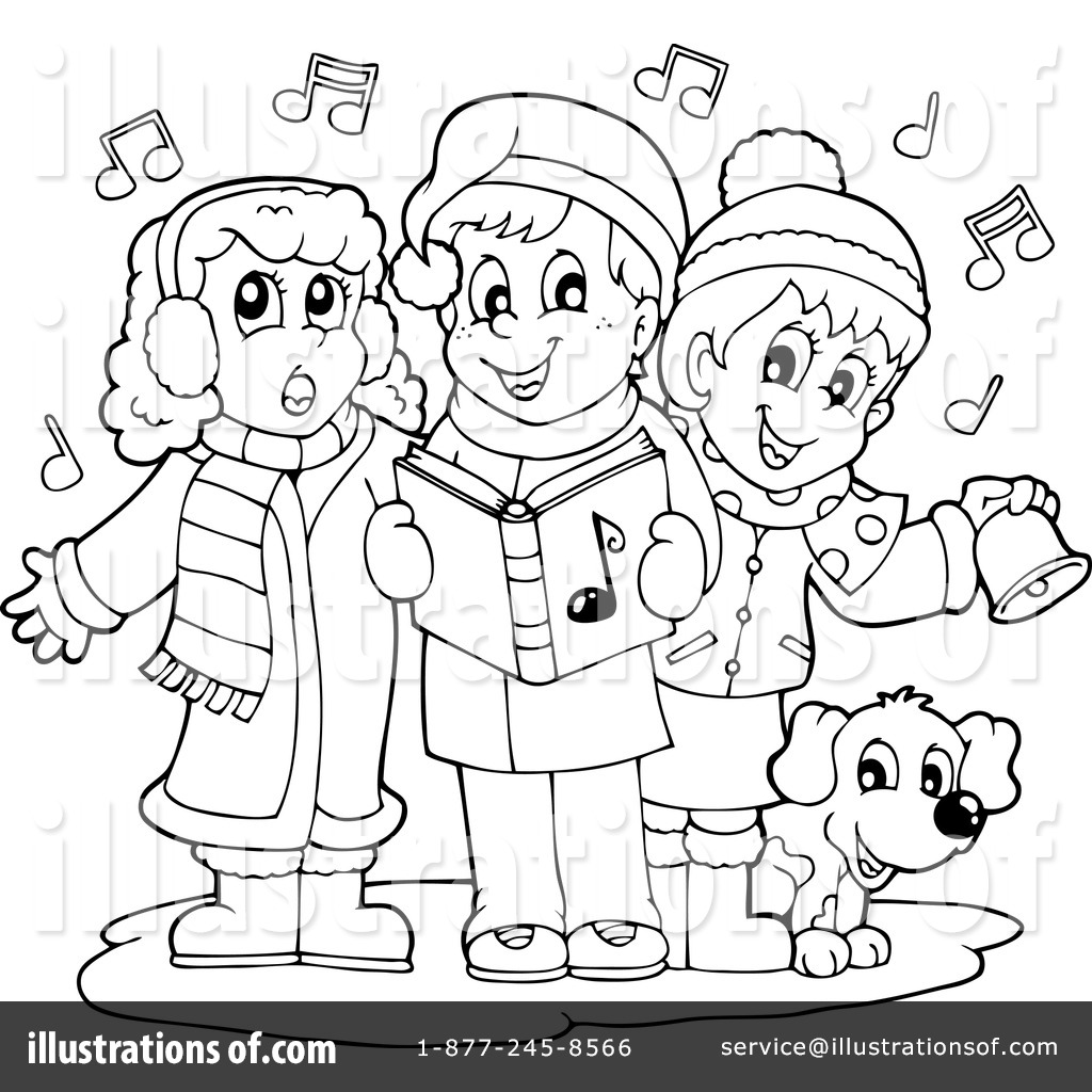 Caroling clipart black and white. Christmas carols illustration by