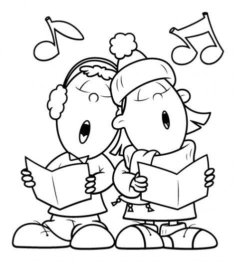 Caroling clipart black and white. Christmas carols free clip