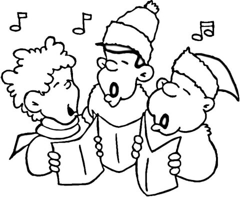 Little carolers coloring page. Caroling clipart black and white