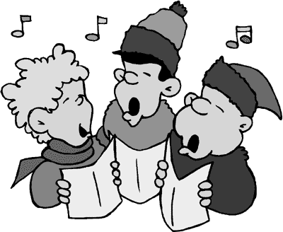 Carolers holiday christmas png. Caroling clipart black and white