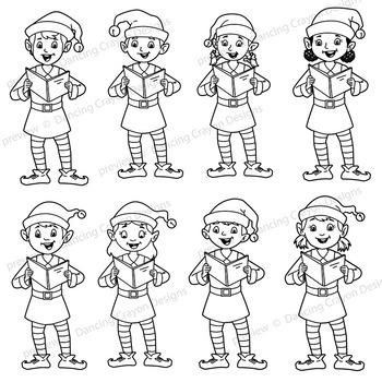 Caroling clipart black and white. Singing elves choir clip