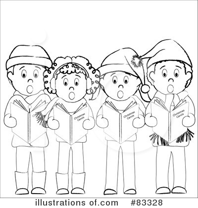 Caroling clipart black and white. Christmas illustration by pams