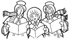 Caroling clipart black and white. Carolers book art pinterest