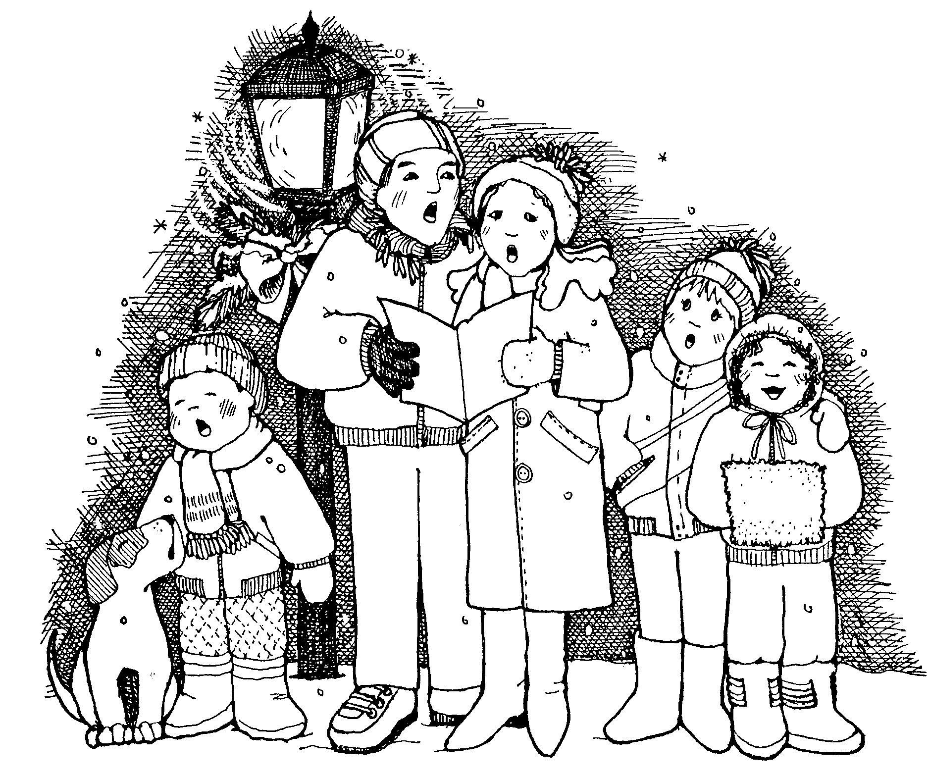 Free christmas cliparts carolers. Caroling clipart black and white