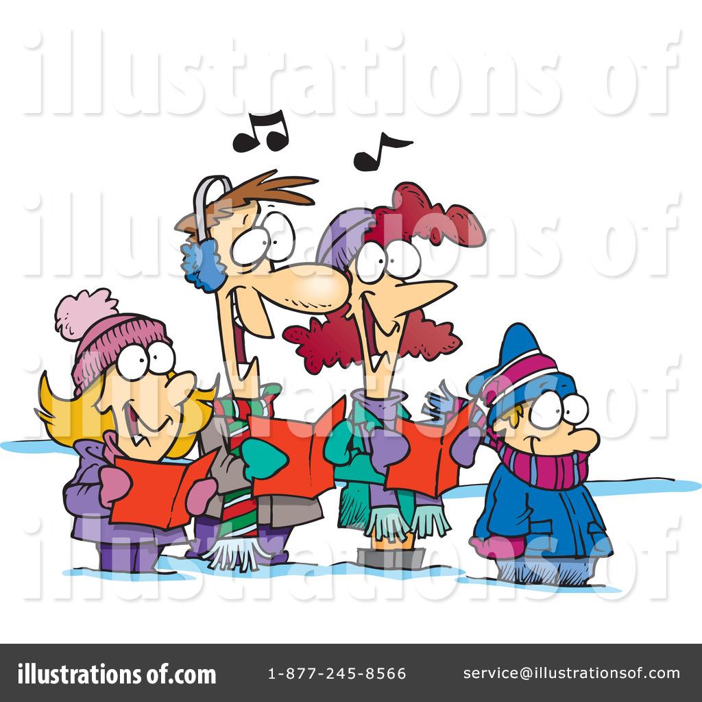 Caroling clipart carol service. Christmas carols illustration by