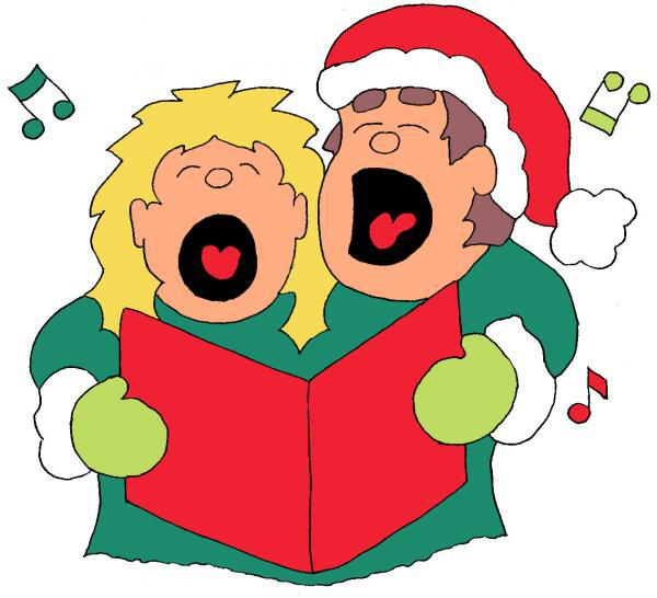Singing the griffin . Caroling clipart carol singer