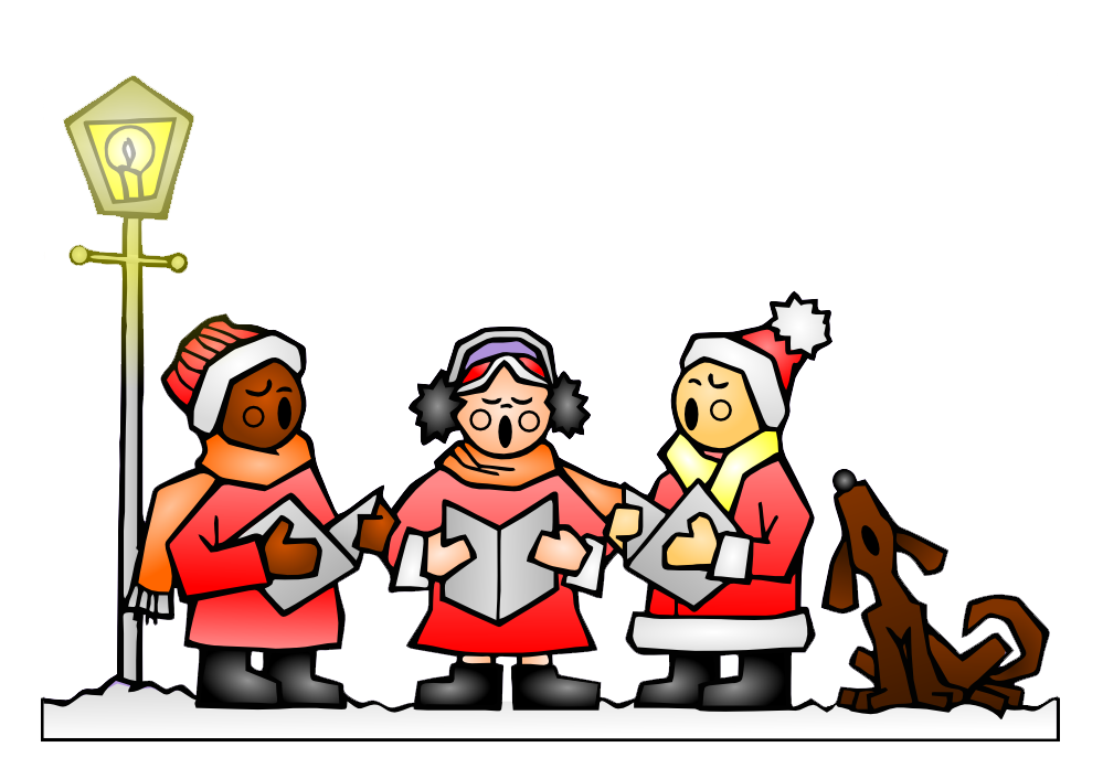 Singing christmas carols . Caroling clipart carol singer