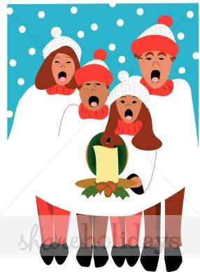Caroling clipart cartoon. Christmas carolers people