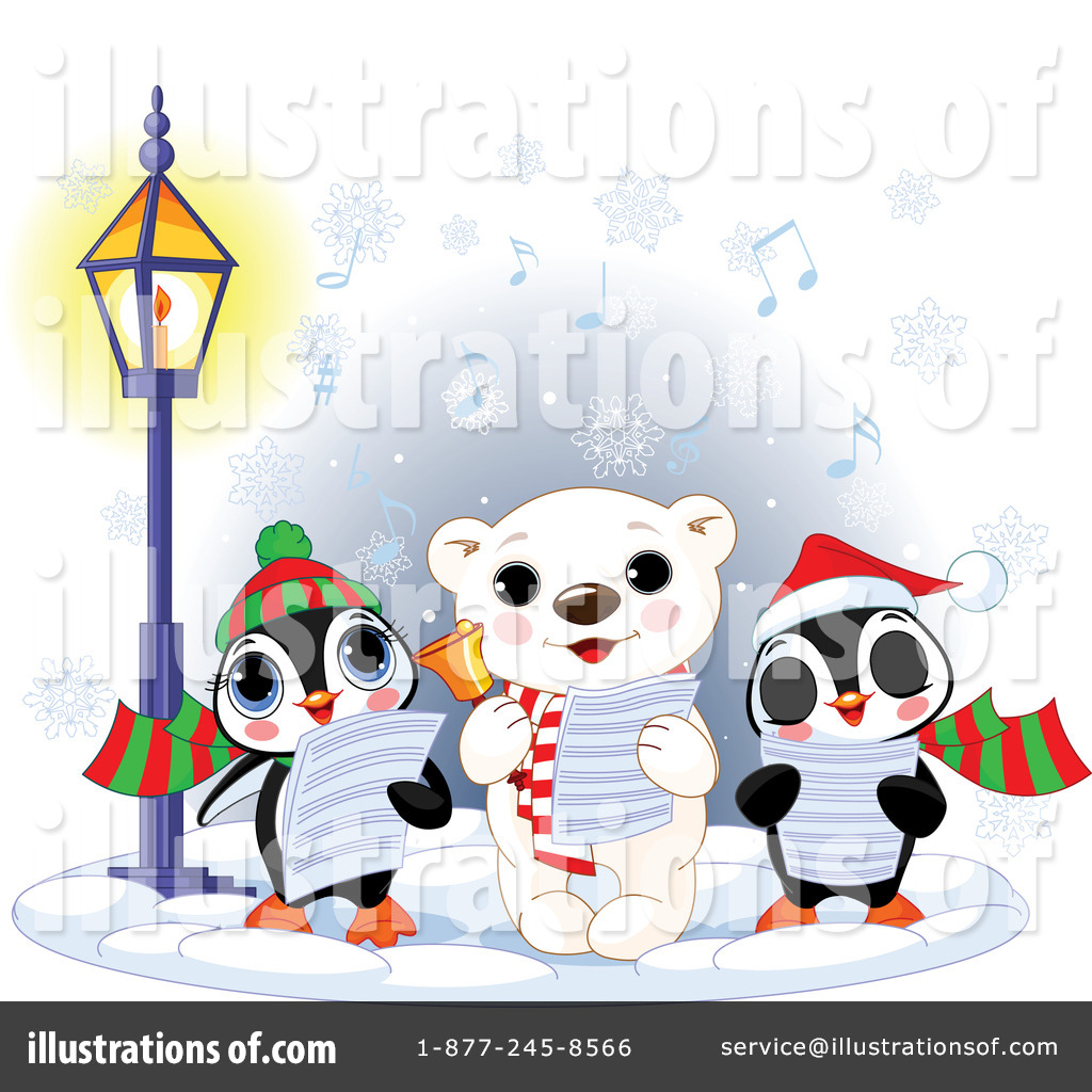 Caroling clipart character. Christmas illustration by pushkin