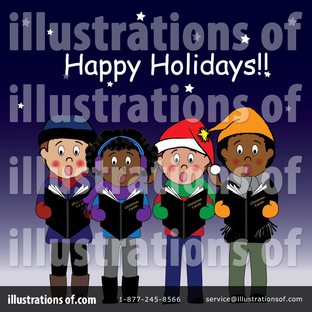 Christmas illustration by pams. Caroling clipart character