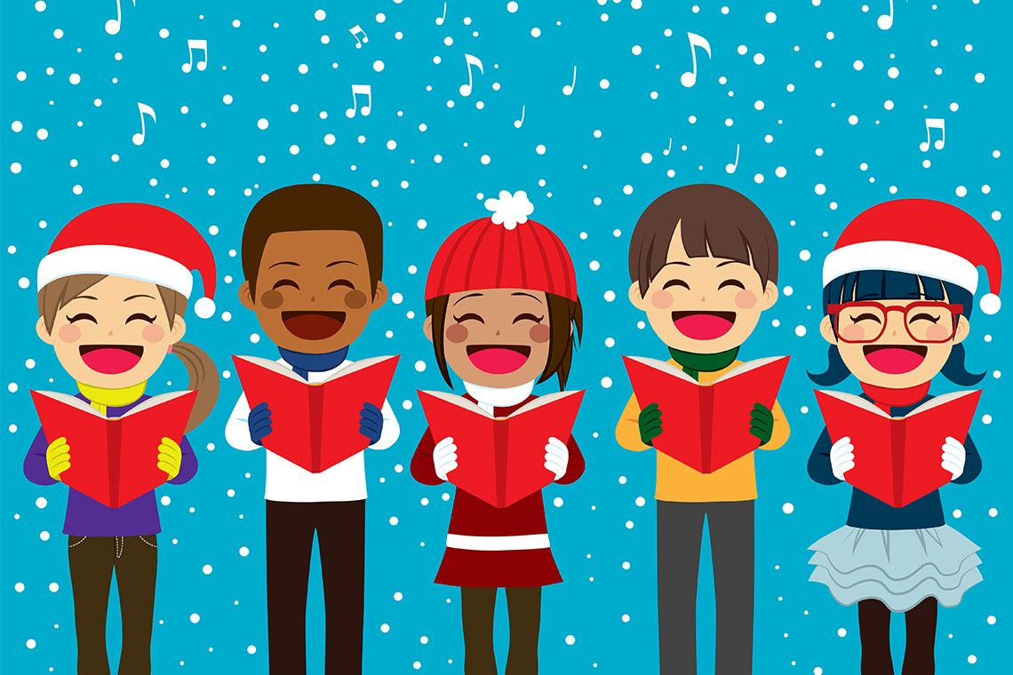 Carols in the square. Caroling clipart character