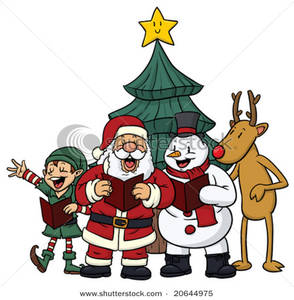 Cute christmas characters singing. Caroling clipart character