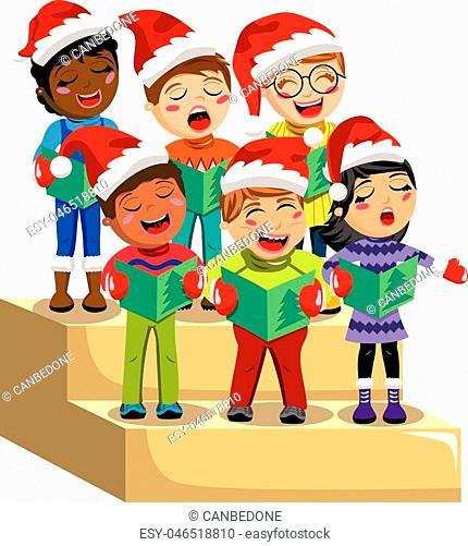 Happy children singing christmassy. Caroling clipart children's