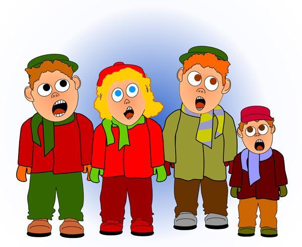 Caroling clipart children's. Christmas karaoke children singing