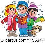 Cartoon of children singing. Caroling clipart children's