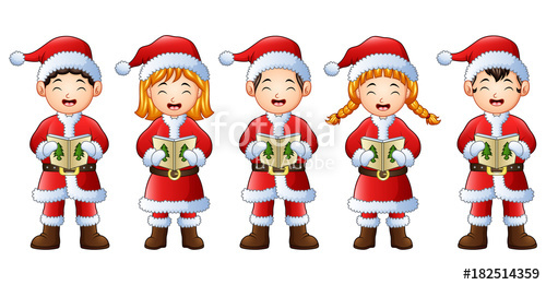 Caroling clipart children's. Five happy children singing