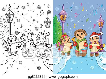 Vector art coloring book. Caroling clipart children's