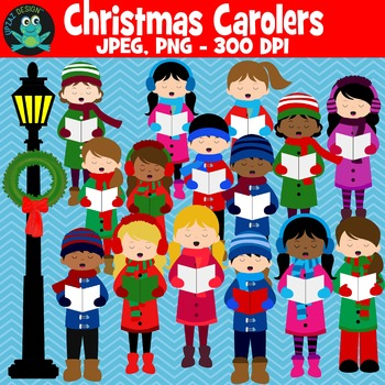 Caroling clipart christmas. Carolers upzaz digital