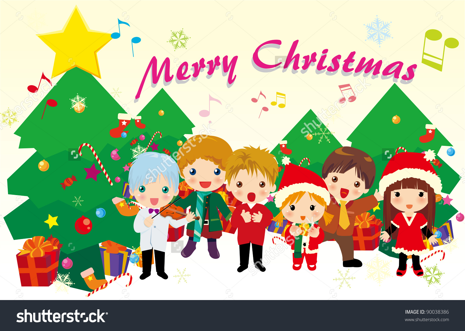 Trees singing carols free. Caroling clipart christmas