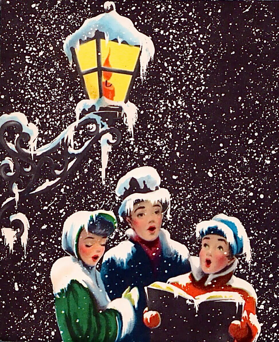 Carolers old fashion . Caroling clipart christmas light post