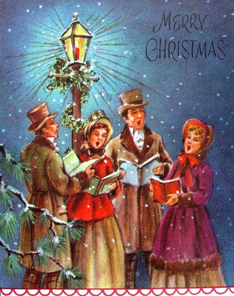 Caroling clipart christmas light post. Pin on old ards