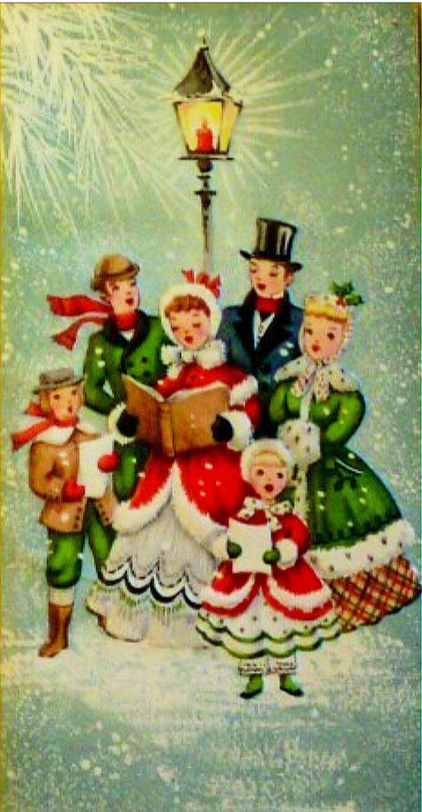 Caroling clipart christmas light post. Vintage mailbox full of