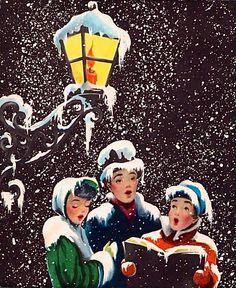 Caroling clipart christmas light post. Carolers vintage music pinterest