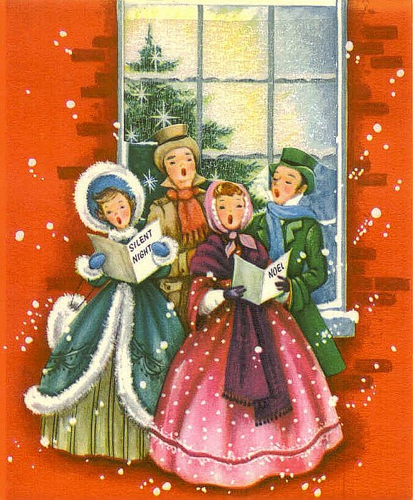 In the snow vintage. Caroling clipart christmas light post