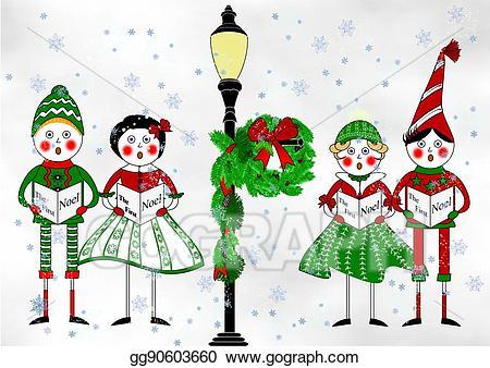 Caroling clipart christmas light post. Stock illustration the carolers