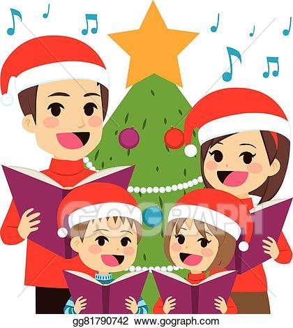 Caroling clipart concert. Eps illustration family singing