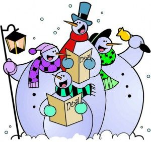 Caroling clipart cute. Snowmen my merry christmas