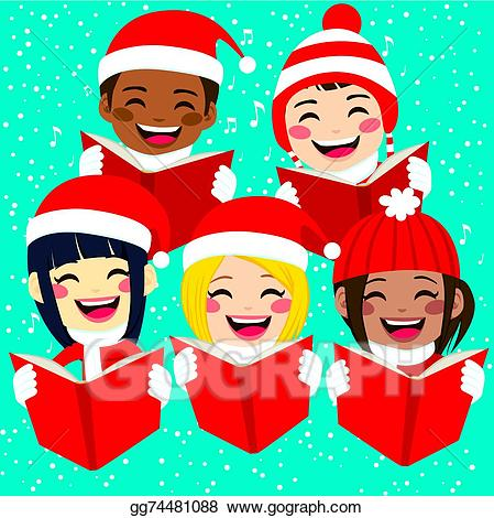 Caroling clipart cute. Eps vector happy children